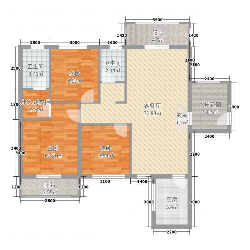 四通八达国际广场1118.13㎡A1户型3室2厅2卫1厨