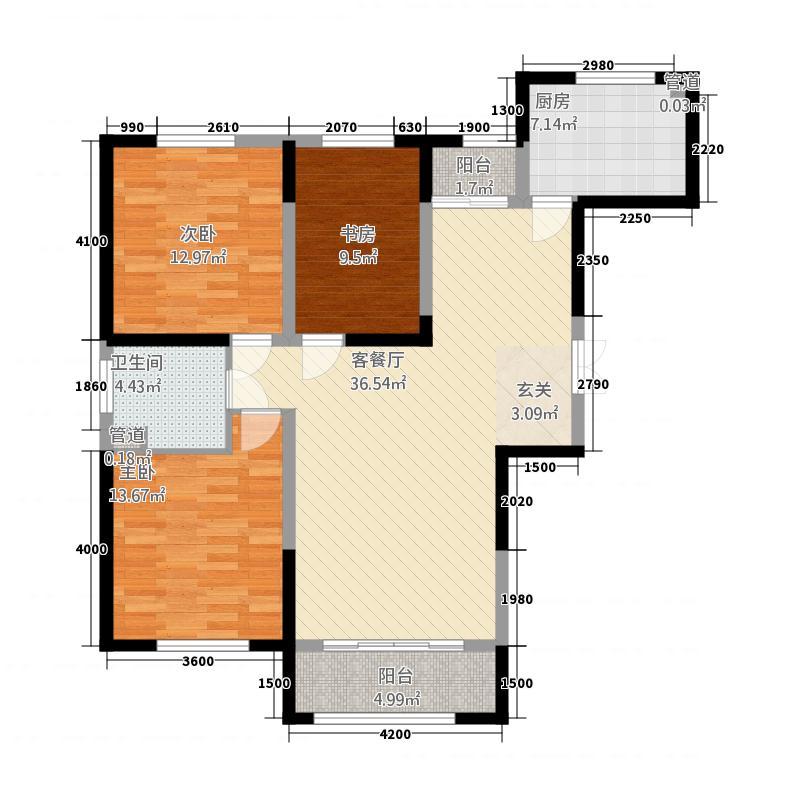 紫润华庭321126.19㎡K户型3室2厅1卫