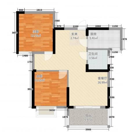 康湾一品2室1厅1卫1厨64.03㎡户型图