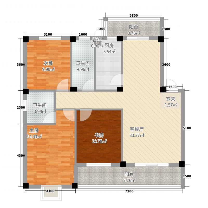 万福城132118.72㎡户型3室2厅2卫1厨
