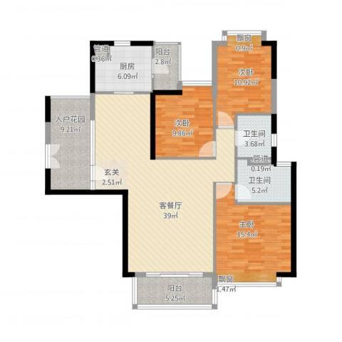 颐德公馆3室1厅2卫1厨152.00㎡户型图