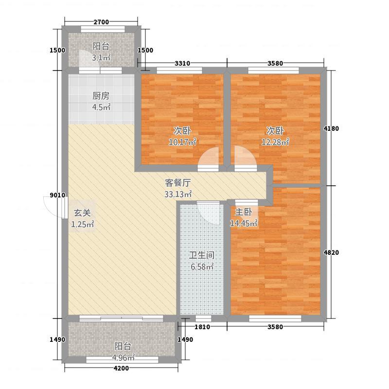 泰宇城市花园2户型3室2厅1卫1厨