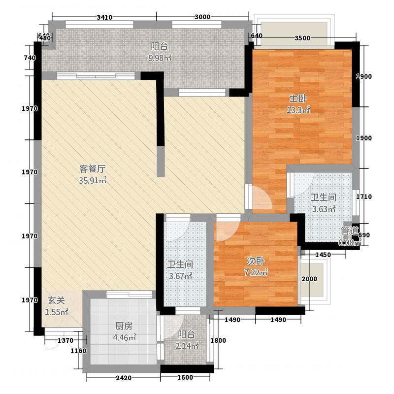 恒春凤凰城11.00㎡1栋/2号房户型3室2厅2卫1厨