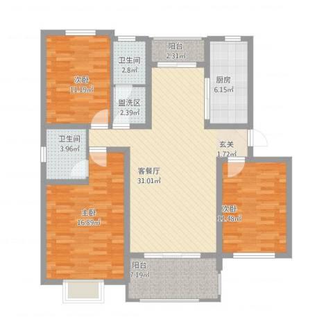 九里景秀3室1厅2卫1厨137.00㎡户型图