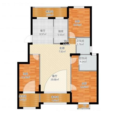 大学里三期3室1厅2卫1厨148.00㎡户型图