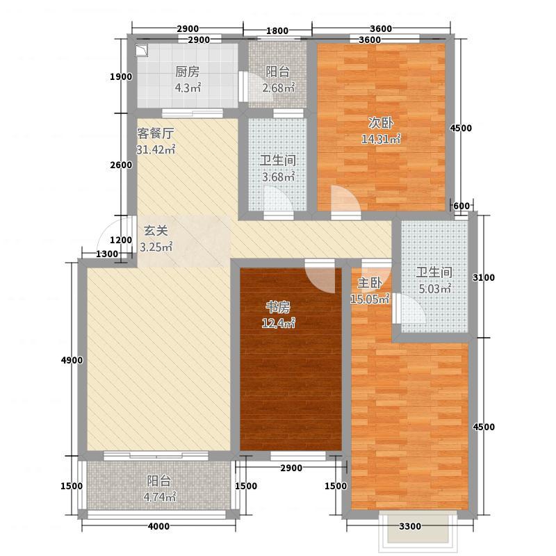 天赐良苑2112.32㎡E2户型3室2厅2卫1厨