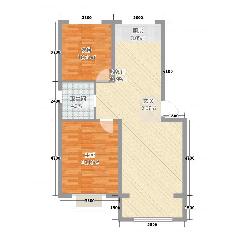 中兴・水岸华府---5号楼暂定户型2室2厅1卫1厨