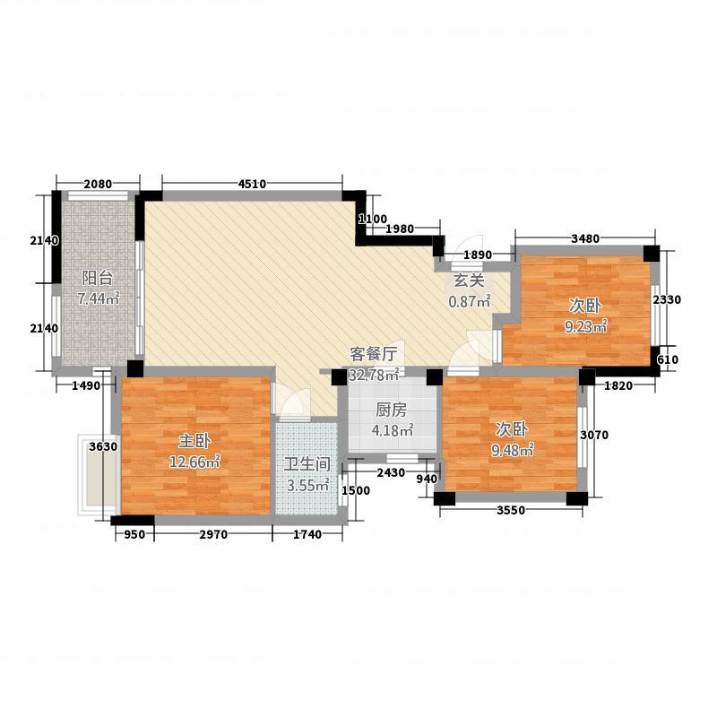 柏庄跨界113.20㎡洋房10号楼A4户型3室2厅1卫1厨