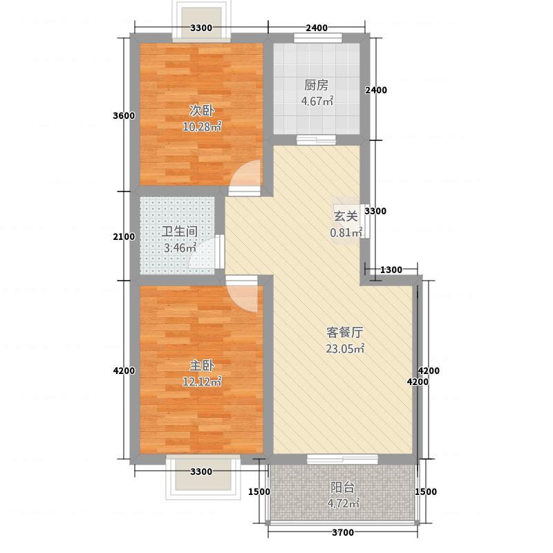 天鹅湖22277.62㎡C2户型2室2厅1卫1厨