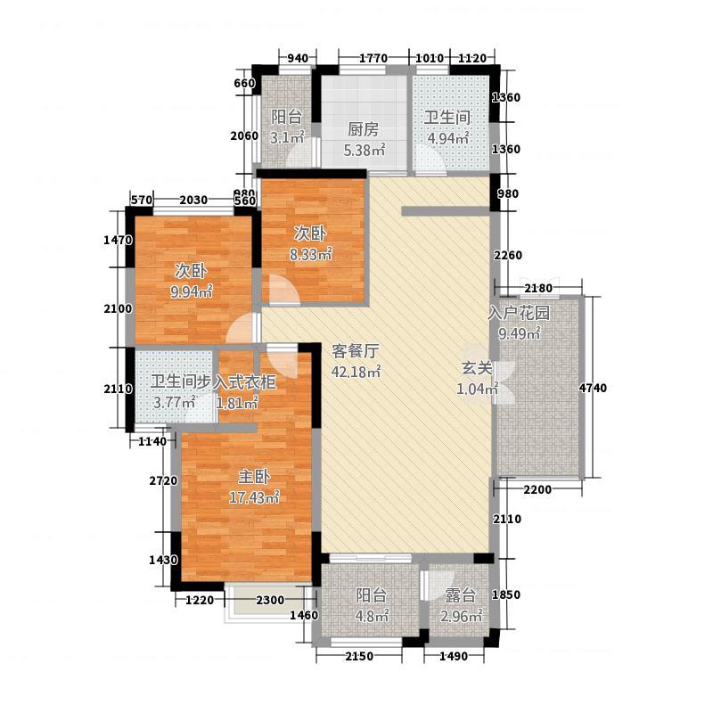 锦水丽景153.32㎡西、中单元西户3室户型3室2厅2卫1厨