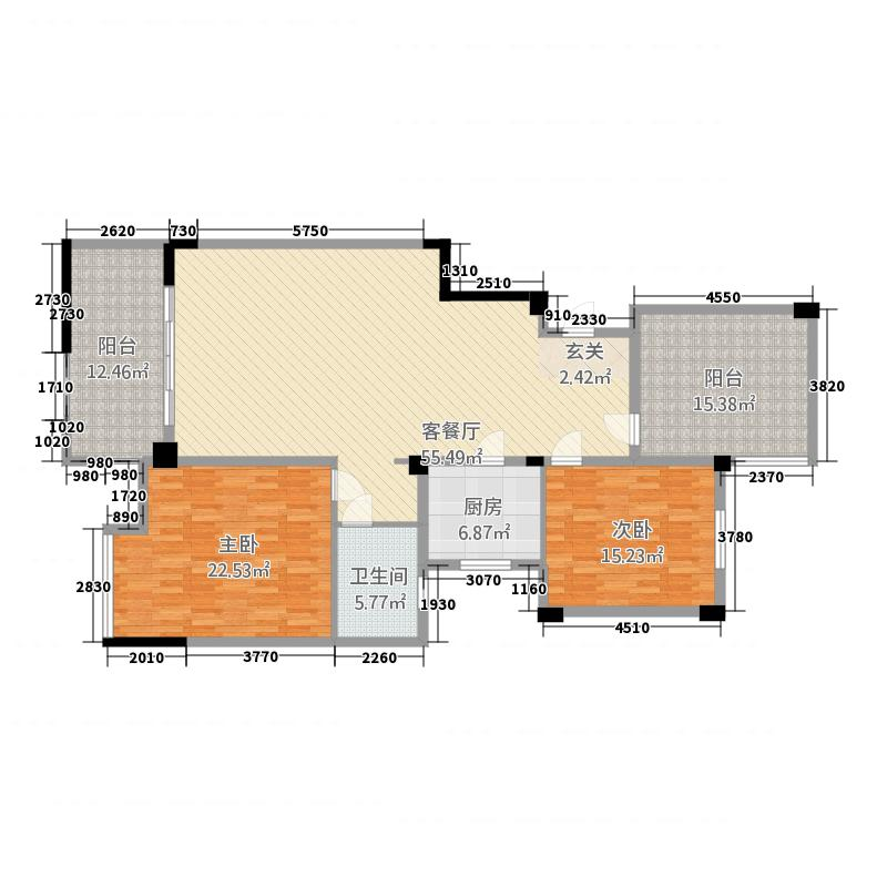 柏庄跨界185.20㎡洋房10号楼A5户型2室2厅1卫1厨