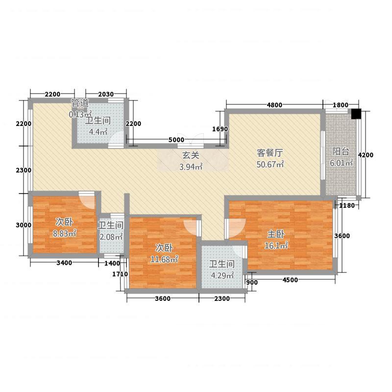 虹桥国际3134.36㎡户型3室2厅2卫1厨