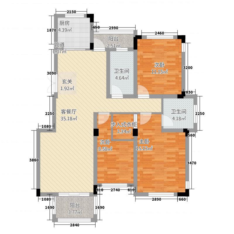 耀江幸福嘉园1133.20㎡B1户型3室2厅1卫1厨