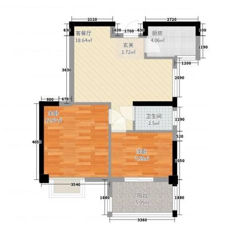 康湾一品2室1厅1卫1厨268.00㎡户型图
