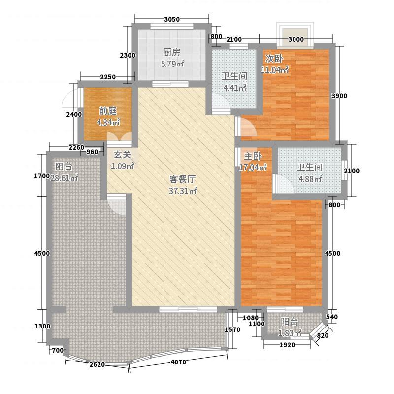 名仕豪庭2213.20㎡B户型2室2厅2卫1厨