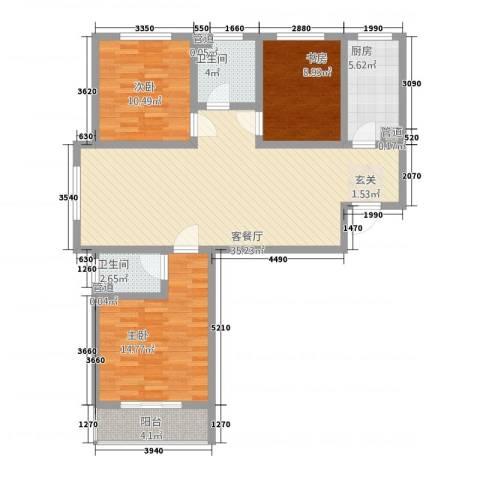 翠堤春晓3室1厅2卫1厨2124.00㎡户型图