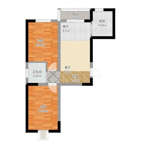 蓝色港湾2室1厅1卫1厨69.00㎡户型图