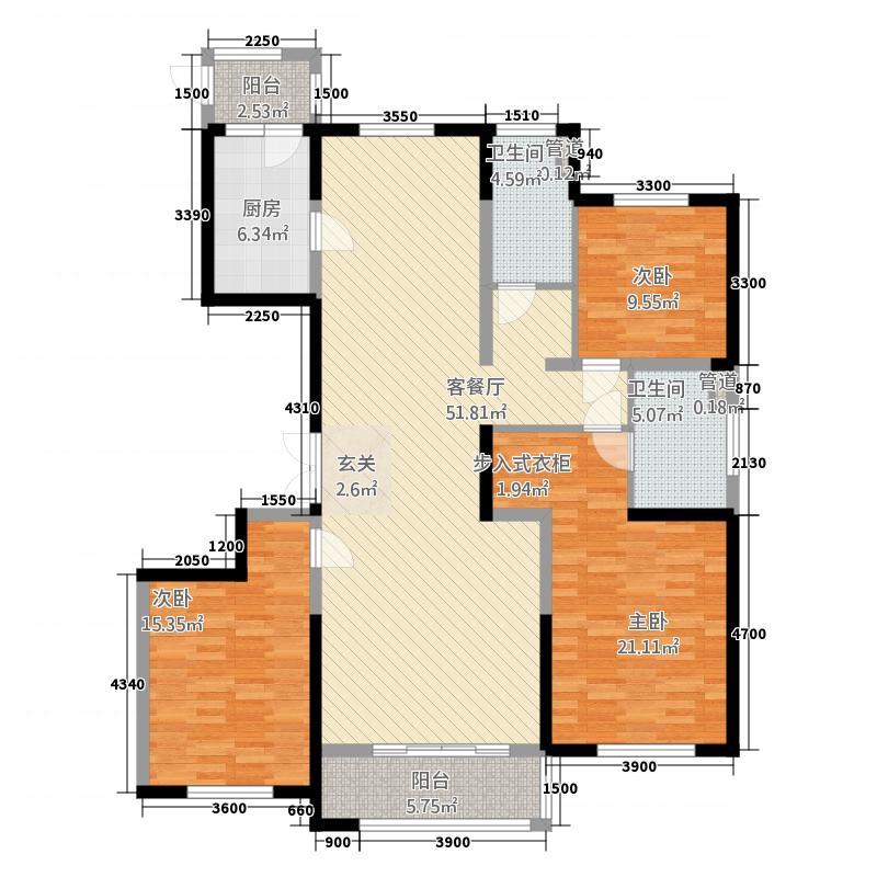 紫润华庭32217.20㎡d户型3室2厅2卫