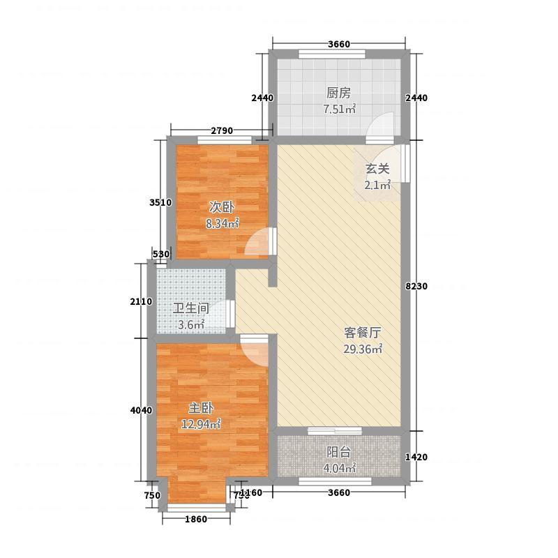 金鼎名城2214.85㎡G户型2室2厅1卫1厨
