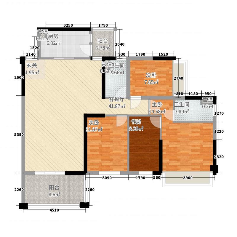 富森领峰14143.25㎡01号楼04户型4室2厅2卫1厨