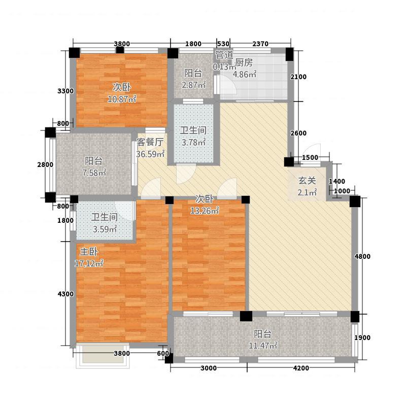 新城壹号新街11132.82㎡11#楼A户型3室2厅2卫1厨