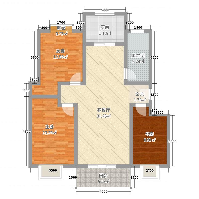 天鹅湖33214.56㎡B3户型3室2厅1卫1厨