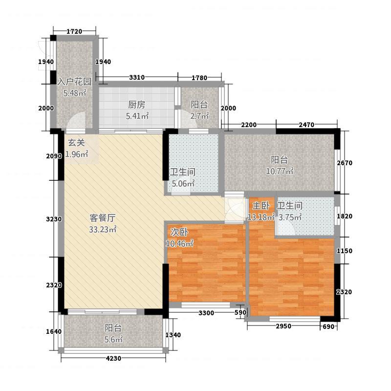 富森领峰73112.67㎡07号楼03户型2室2厅2卫1厨