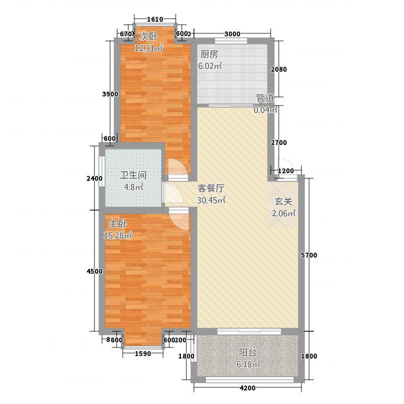 一品和�887.20㎡二期8#楼A户型2室2厅1卫1厨