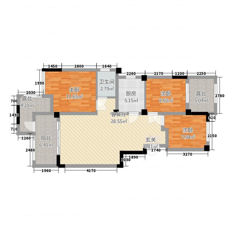 柏庄跨界116.20㎡洋房10号楼B3户型3室2厅1卫1厨