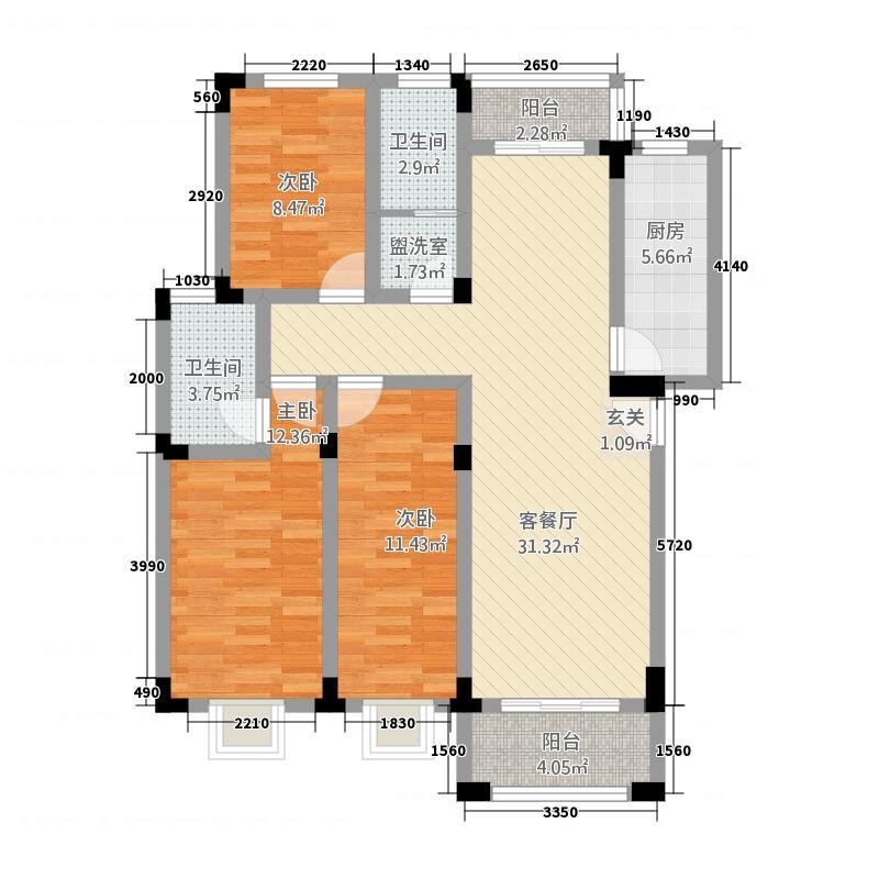 齐山御翠园232124.63㎡户型3室2厅2卫1厨