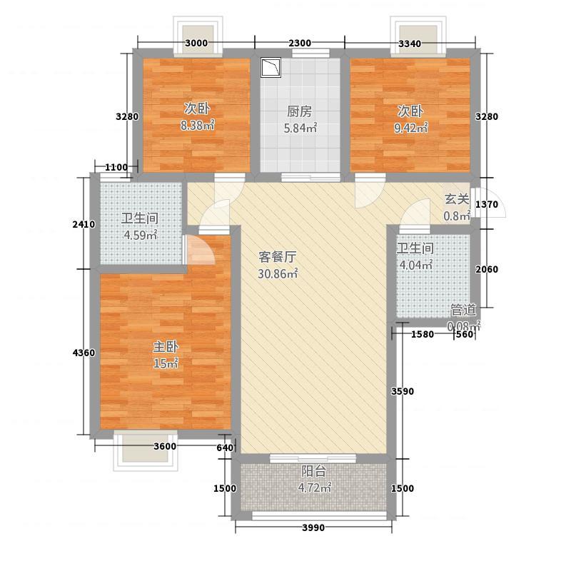 恒昌・阳光里12.62㎡西边户B1户型3室2厅2卫1厨