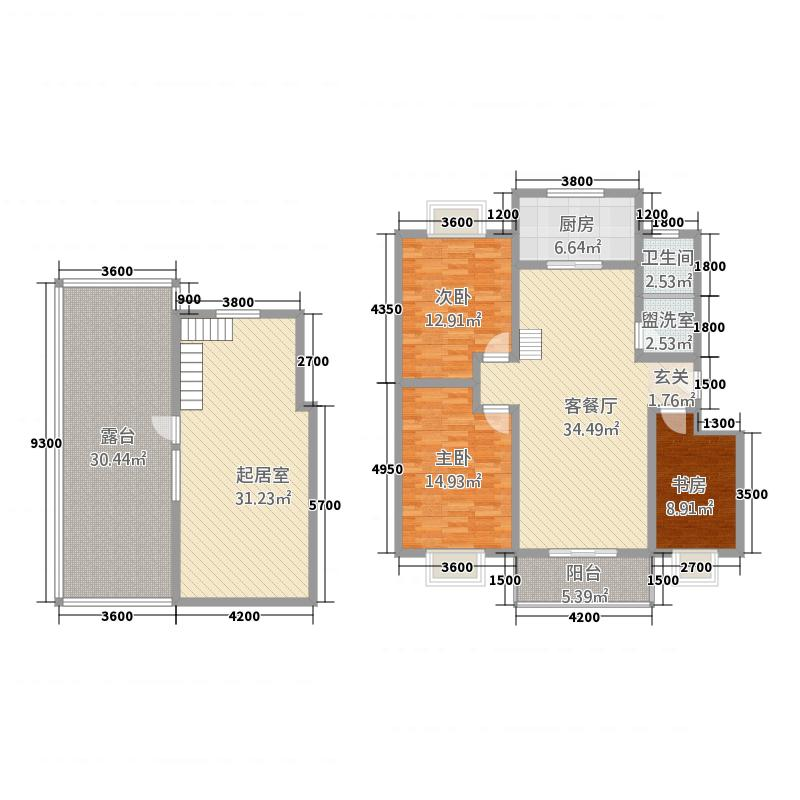 天鹅湖2415.47㎡B2复式户型4室2厅1卫1厨