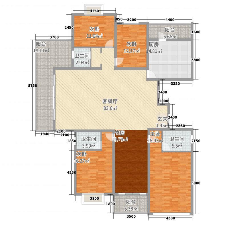 坤泰中央名门224.20㎡D2户型5室2厅3卫1厨
