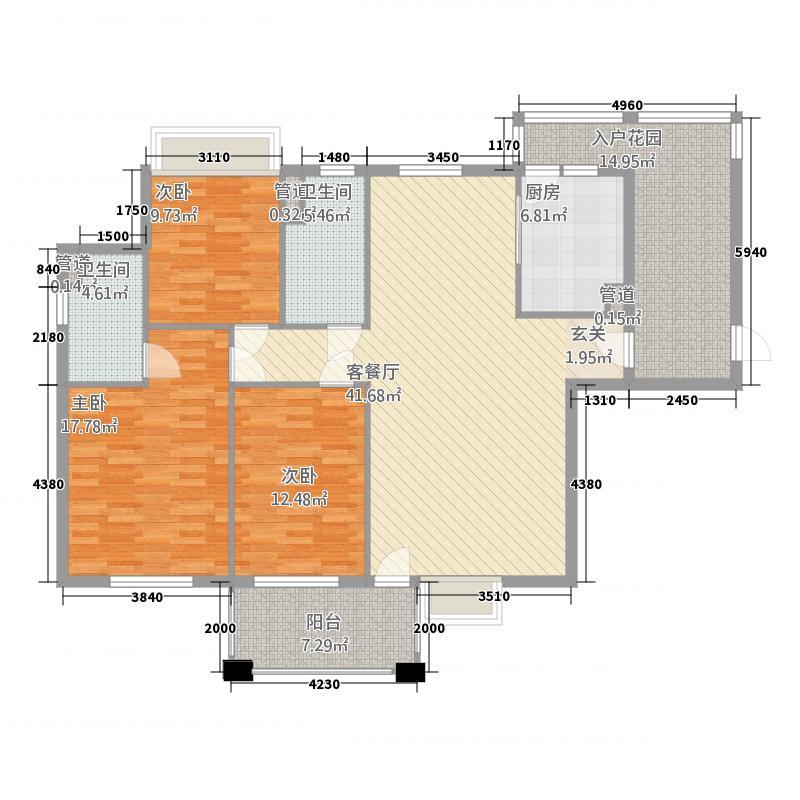 富森领峰6114.62㎡06号楼01户型3室2厅2卫1厨