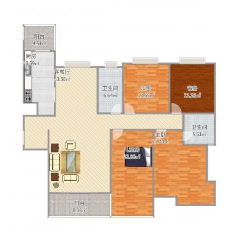西市佳境4室1厅2卫1厨213.00㎡户型图