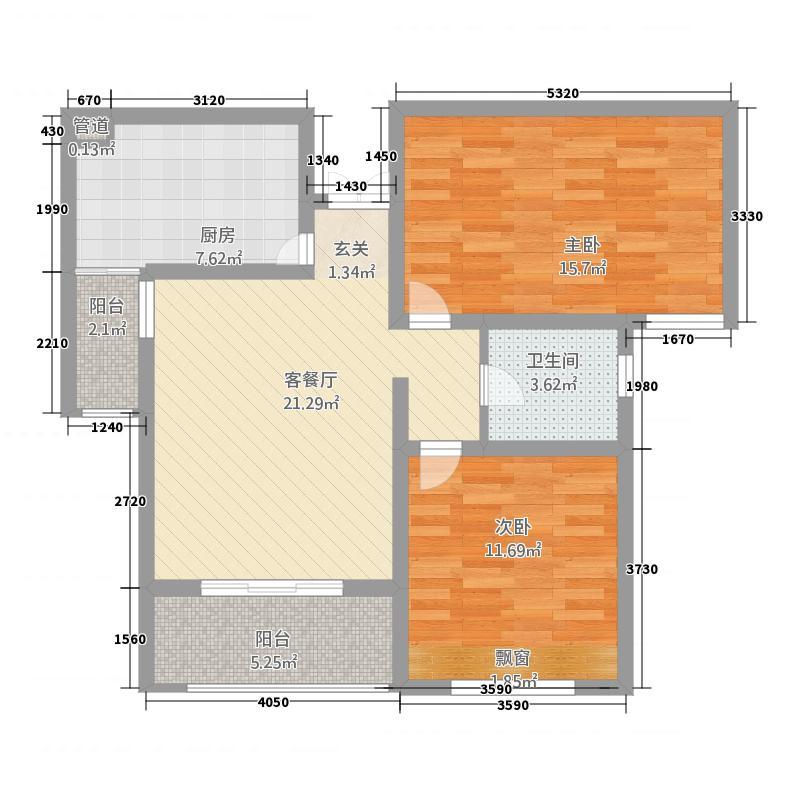 阳光康城2211525.25㎡户型2室2厅1卫1厨