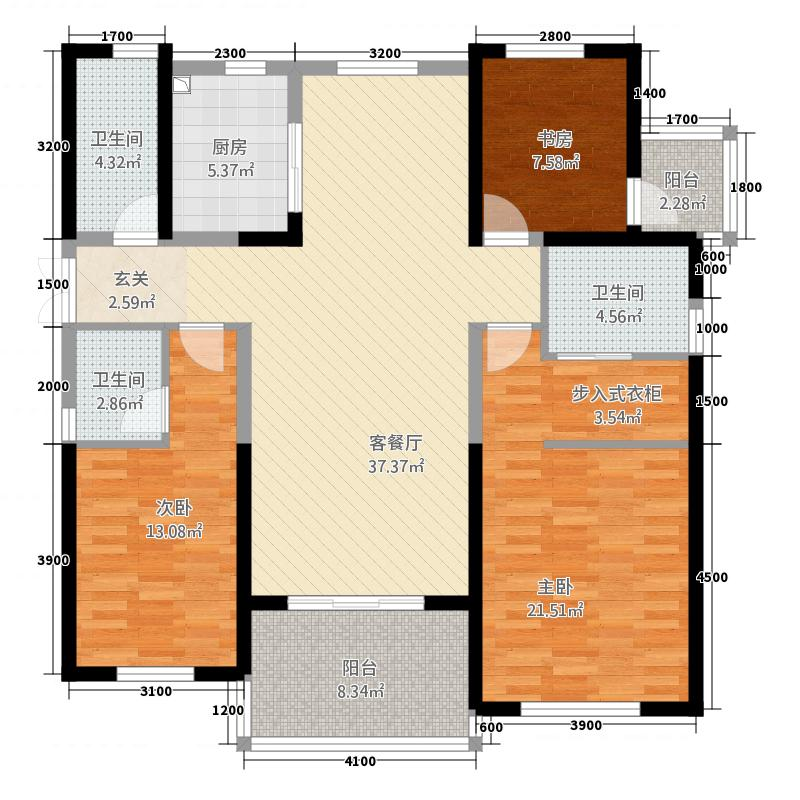 金通黄金海岸13.20㎡D户型3室2厅3卫1厨