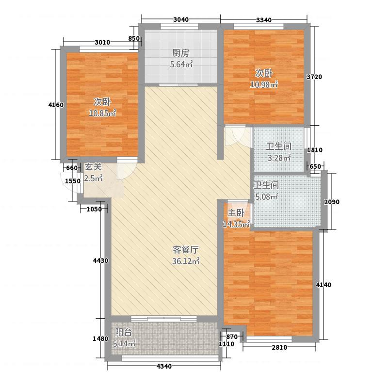 科达天意华苑122.20㎡一期高层5#标准层B1户型3室2厅2卫1厨