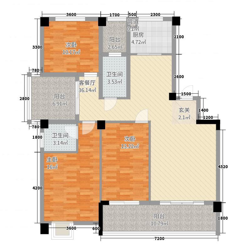 新城壹号新街57128.20㎡5-7#楼B户型3室2厅2卫1厨
