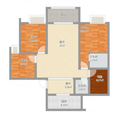 梁平上海城4室2厅2卫1厨131.00㎡户型图