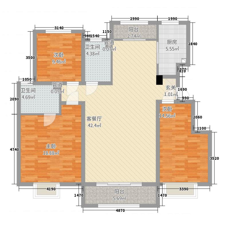 中海天悦府1114.20㎡二期B11#B15#B16#楼洋房标准层G户型3室2厅2卫1厨