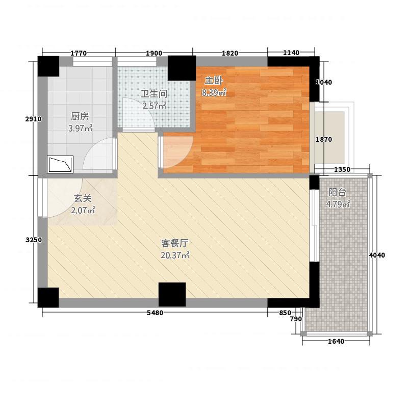 永鸿御景湾57658.20㎡57#、60#栋02、05单元1室户型1室2厅1卫1厨