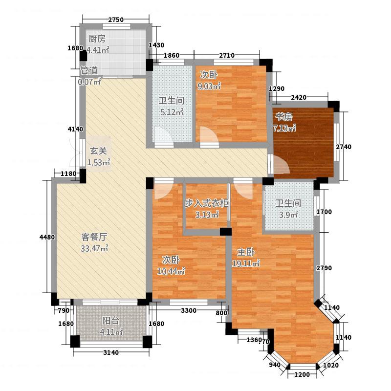 耀江幸福嘉园7144.20㎡B7户型4室2厅2卫1厨