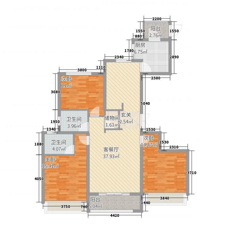 科达天意华苑147.20㎡一期高层2#1层C户型3室2厅2卫1厨