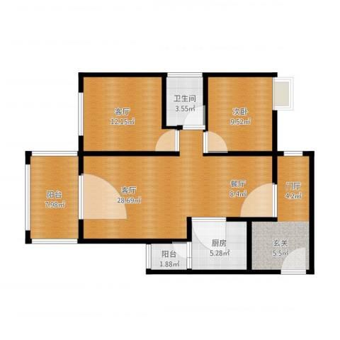 礼顿山1号1室2厅1卫1厨112.00㎡户型图