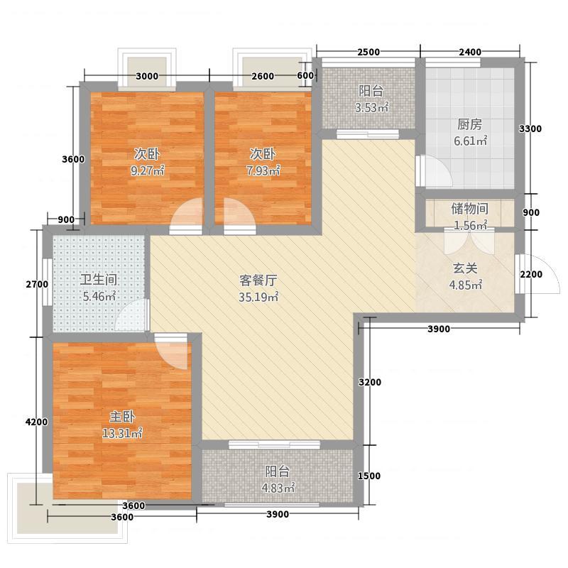 新庐国际3.20㎡户型3室2厅1卫1厨