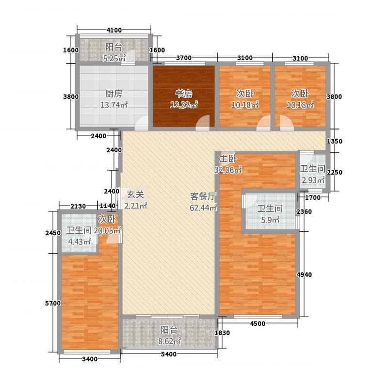 坤泰中央名门4238.20㎡D4户型5室2厅3卫1厨