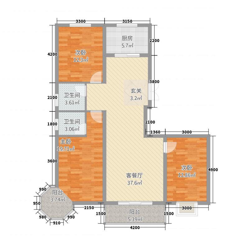 云鼎华城国际136.88㎡户型3室2厅2卫1厨