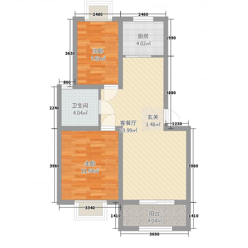 德宝城墅8.63㎡三期C户型2室2厅1卫1厨