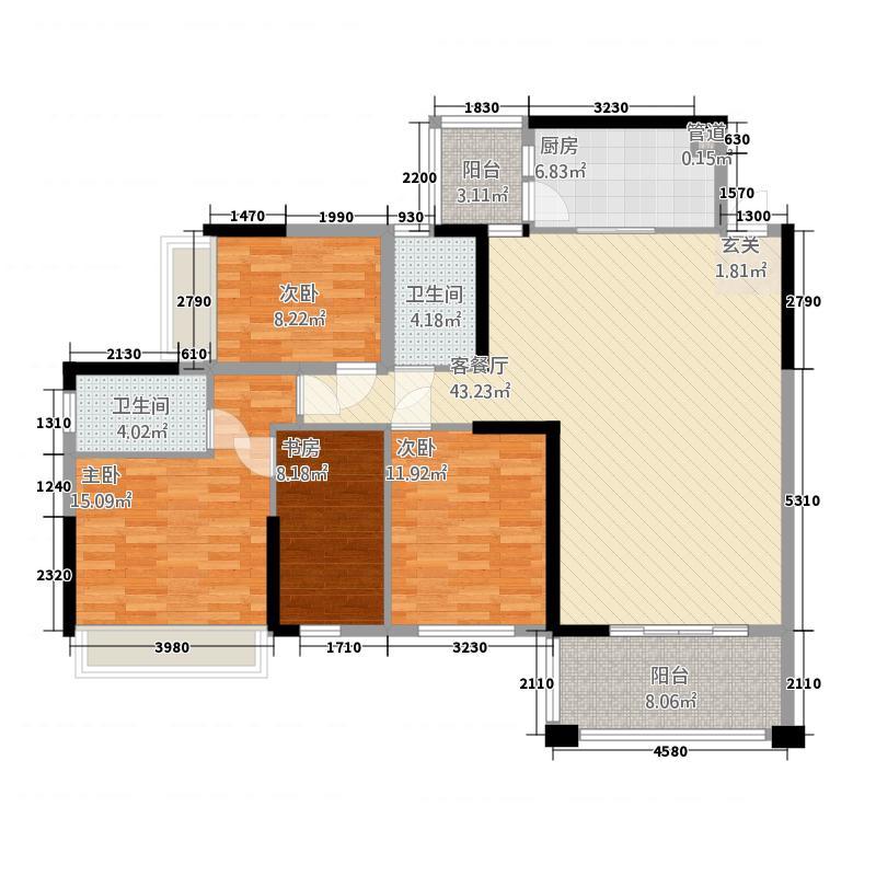 富森领峰13143.25㎡01号楼03户型4室2厅2卫1厨